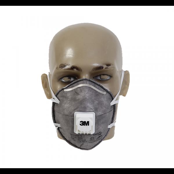 Respirador descartável concha PFF1 8013 cinza com válvula e carvão ativado - 3M