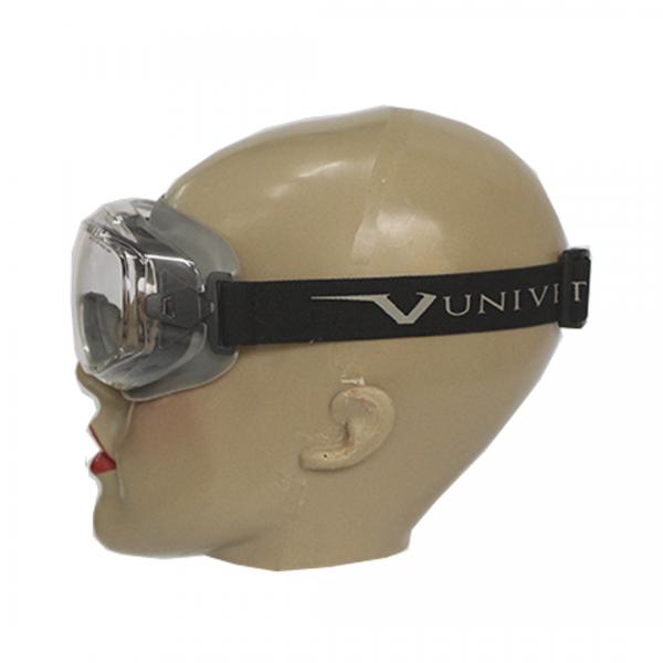 Óculos de segurança 620UP ampla visão cinza com elástico anti-risco e antiembaçante incolor - UNIVET