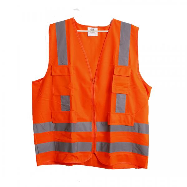 Colete refletivo poliéster zíper 4 bolsos laranja RFX