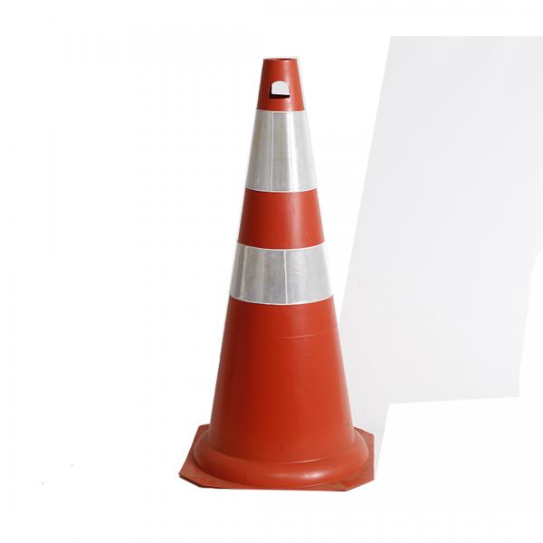 Cone 75CM rígido com faixa plástica refletiva laranja - KTELI