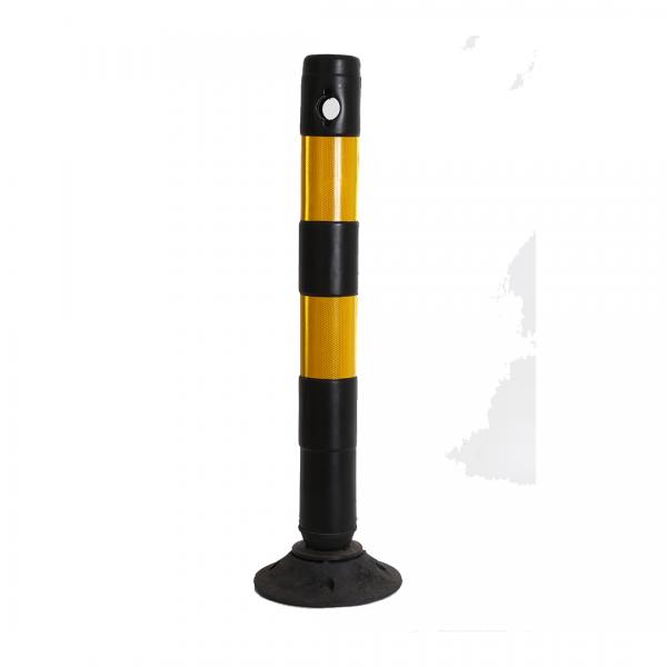 Balizador flexível preto com base e adesivo refletivo 90CM - TELBRAS