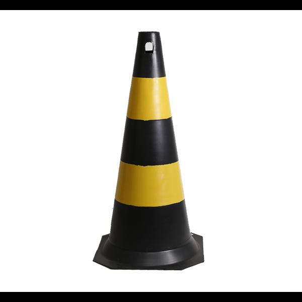 Cone PVC 75cm preto/amarelo
