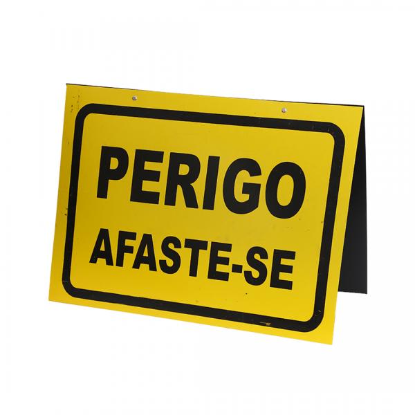 Cavalete placa dupla 34X47CM PERIGO AFASTE-SE