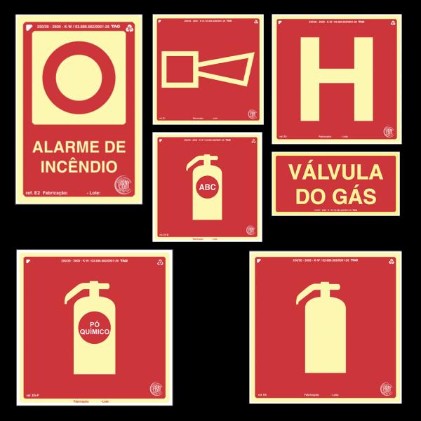 Placa indicação extintor, alarme de incêndio